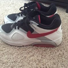 Black, Pink and White Nike Has been worn but is still in decent shape. Since it does has a little wear that is why the price is so low. But it is still decent enough to wear and can most likely be cleaned. Size 8 Nike Shoes Athletic Shoes