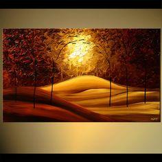 Cuchillo paleta paisaje pintura floreciente árbol textura