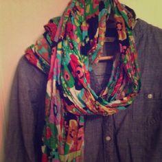 J. crew bright floral print summer scarf Bright lightweight scarf J. Crew Accessories Scarves & Wraps