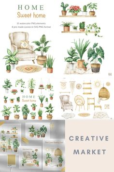 Cozy Plant Home Aesthetic Digital Design Assets Collection - including Botanical House Plants in Pots Elements · Homely Boho Furniture & Home Decor Elements · Pre-Made Watercolour Indoor Plant Scenes | #photoshop #illustrator #digitaldesign #creativeassets #graphicdesign #graphicelements #logodesign #botanicaldesign #plantdesign #watercolourdesign #creativemarket #affiliatelink Aesthetic Room Decor, Photoshop Illustrator, Plant Design, Cozy House, Indoor Plants, House Plants, Packaging Design, Watercolour, House Warming