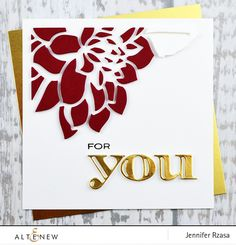 Elegant handmade card using gold foil cardstock, Layered Floral Cover Die A, and Inline Alpha Die Set. www.altenew.com