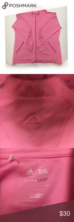 Adidas Pink Golf ClimaLite Jacket Sz XL Stay warm on the golf course with this sleek,soft, ClimaLite Adidas Golf jacket. Never worm, 3 stripes up both sleeves. SZ XL WOMENS  *RESPECTABLE OFFERS WELCOME *SHIPS NEXT BUSINESS DAY adidas Jackets & Coats