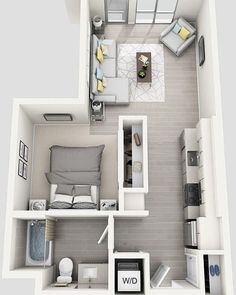 New Ideas Bedroom Layout Ideas Floor Plans Loft - Apartment floor plans - Studio Apartment Floor Plans, Studio Apartment Layout, Bedroom Floor Plans, Small Apartment Plans, Small Apartment Layout, Studio Layout, Studio Floor Plans, Small House Layout, Micro Apartment