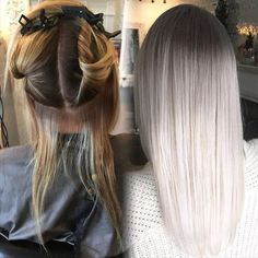 """Smokey Platinum Part 1 Hair by @hairbyac_alcorn @necessalon. """"I began by applying Wella Soft Blonde cream lightener20vol(6%)Olaplex in thinly sliced foiled sections in foil. Processed 20 min. Then applied Wella Blondor30vol(9%)Olaplex to 1/2"""" regrowth area in four quadrants. Processed together 45 minutes until almost a clear blonde. Shampooed conditioned & towel dried. Toned the regrowth with Wella Illumina 7/81(1oz)Wella Instamatics Smokey Amethyst (1/4oz)Ocean Storm(1/4oz)Colortouch…"""