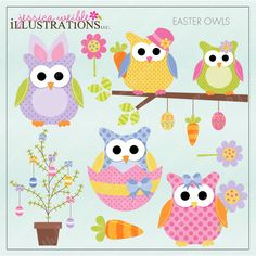 Easter Owls clipart set comes with 10 cute graphics including: 5 cute Easter Owls, a branch with attached Easter eggs & Carrot, 2 flowers, a striped carrot, and an Easter Egg Tree.