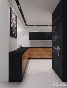 Black and wood kitchen - Styl Nowoczesny - PASS architekci Black Kitchens, Cool Kitchens, Kitchen Black, Kitchen Wood, Kitchen Ideas, Modern Kitchen Design, Interior Design Kitchen, Küchen Design, House Design
