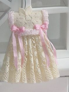 """queenbee1924: """" Dollhouse Valenciens ribbon girl dress. Ready to hang) """""""