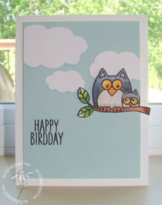 handmade birthday card ... Lil Hoot ... adorable pair of owls, mom and baby on a branch ...  glittered ... die cut fluffy clouds .... punny sentiment ... clean and simply layout ... great card!