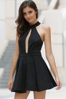 Cut Out Stand Collar Voile Spliced Dress