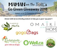 Maman on the Trail's Go Green Guide Giveaway with all brand logos (FB)