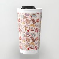 Travel Mug featuring Hand drawn confectionery seamless pattern croissant Cupcake candy ice cream cake donut and coffee by EkaterinaP