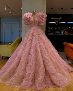 A-line Pink Tulle Long Elegant Unique Modest Long Prom Dresses, Ball gown Gala Dresses, Ball Gown Dresses, Event Dresses, Dress Up, Formal Dresses, Straps Prom Dresses, Pink Dress, Vestidos Zara, Beautiful Gowns