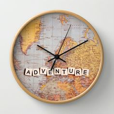 adventure map Wall #Clock by Sylvia Cook Photography - $30.00 #map #typography #adventure #travel #world