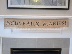 NOUVEAUX MARIÉS burlap and white lace banner by willowbloomwreaths
