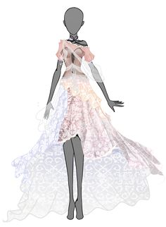 Spring Dream Dress auction - OPEN by CanelitaCatAdopts. Dress Sketches, Fashion Sketches, Fashion Art, Fashion Outfits, Fashion Design, Manga Clothes, Anime Dress, Dress Drawing, Fantasy Dress
