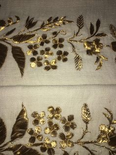 19th c ANTIQUE OTTOMAN-TURKISH GOLD METALLIC HAND EMBROIDERY ON COTTON TOWEL N2