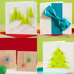 Christmas cards and holiday cards made from duct tape, veneer, and twine