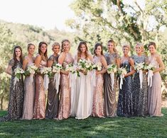 """Style Me Pretty on Instagram: """"This how you do metallic! This bridal party is on ! See more of this gorge #wedding (held at the groom's childhood home) on the blog now! 