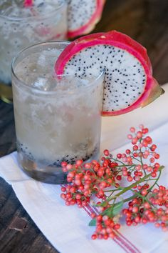 dragon fruit cocktail with ginger beer, lime, agave and rum!!