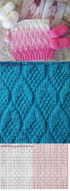 узоров (спицы) Tutorial for Crochet, Knit.Keka❤❤❤Tutorial for Crochet, Knit. Knitting Stiches, Knitting Charts, Lace Knitting, Knitting Patterns Free, Knit Patterns, Crochet Stitches, Stitch Patterns, Knit Crochet, Blanket Patterns
