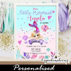 Adorable blonde girl mermaid birthday party invitations under the sea. These mermaid birthday party invitations feature the sweetest blonde little mermaid g Personalized Invitations, Printable Invitations, Invitation Cards, Invites, Mermaid Invitations, Birthday Party Invitations, Pink Purple, Coral, Turquoise