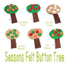 Seasons Button Tree - Therapy Fun Zone. Pinned by SOS Inc. Resources pinterest.com/sostherapy/ Button Tree, Different Seasons, Summer Fruit, Red Apple, Spring Colors, Winter Snow, Gingerbread Cookies, Diy And Crafts, Therapy