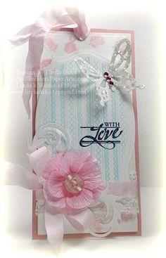Stitched Ribbon Background stamp Tag designed by Linda Duke.