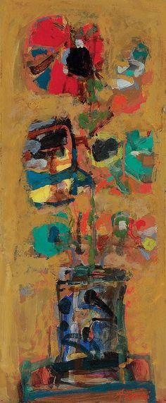 Paul Aizpiri (b. 1919) - Le Coquelicot, 1939, oil on panel, 58.9 x 25 cm.