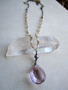 Lisa Chandler Jewelry — 11.5ctw Pink Amethyst, Mystic Quartz, Pearl, Gold-Fill Necklace -- One-of-a-Kind (F908)