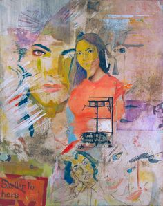 Elisha Sarti, Similar To Hers, 2012  Acrylic and collage on canvas  16 in x 20 in x 1.5 in / 40.64 cm x 50.08 cm x 3.81 cm.