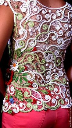 so pretty - irish romanian crochet lace top - just love the romanian swirls