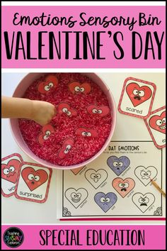 Valentine's Day Emotions Sensory Bin - Assist students to identify 8 emotions while also engaging in Valentine's Day themed sensory play - Valentines Day Memes, Valentines Day For Him, Valentines Day Background, Valentines Day Dinner, Valentines Art, Valentines Day Activities, Valentine Ideas, Sensory Activities, Sensory Play