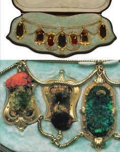 Victorian Etruscan Revival gold necklace with hummingbird mounts, gold beaks, gem or glass eyes, c. 1870. [David Wenham wears a similar necklace in the movie Moulin Rouge.]