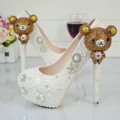 Rhinestone Bridal White Pearl Wedding Shoes High Heels Platform Diamond Women's Pumps 2