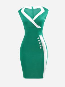 Surplice Contrast Trim Split Bodycon Dress Product Name:Surplice Contrast Trim Split Length:Knee LengthCollar:Su… African Fashion Dresses, African Dress, Fashion Outfits, Dress Fashion, Tight Dresses, Dresses For Work, Formal Dresses, Office Dresses For Women, Fitted Dresses
