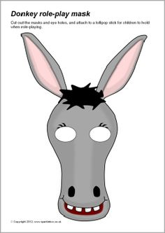 Simple printable masks for use in role-play or for retelling the Nativity story. Donkey Mask, Donkey Costume, Christmas Program, Christmas Skits, Christmas Door, Nativity Costumes, Carnival Of The Animals, Mask Template, Animal Masks