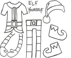 ELF YOURSELF Take up close photos of the students heads and cut them out to add to these clothes. I did this with my Son's grade class- Super Fun craft! Christmas Activities For School, Christmas Arts And Crafts, Holiday Activities, Christmas Themes, Kids Christmas, Holiday Crafts, Holiday Fun, Elf Yourself, Advent