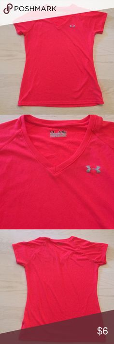 Under Armour Shirt Size Medium Bright orangish color. Size medium. Has some picking on the inside of the shirt below the tag area as seen in 4th picture. Can't see this when wearing it. 100% polyester. Under Armour Tops Tees - Short Sleeve