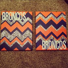 Denver Broncos glitter chevron canvases.