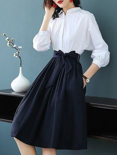 10734822a3e5 Shop Midi Dresses - Color-block Bow A-line Midi Dress online. Discover