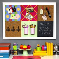 Mix up your bulletin board with sections of cork and chalkboard.
