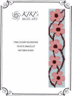 Schéma Peyote pour bracelet fleurs de cerisier par KikisBeadArts