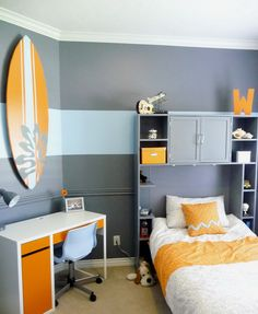 Small Kids Bedroom with Orange and Grey Color Scheme and Small Study Space and Cool Wall Shelfs - Use J/K to navigate to previous and next images