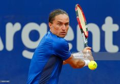 Alexandr Dolgopolov of Ukraine takes a backhand shot during a first round match between Alexandr Dolgopolov of Ukraine and Janko Tipsarevic of Serbia as part of ATP Argentina Open at Buenos Aires Lawn Tennis Club on February 14, 2017 in Buenos Aires, Argentina.