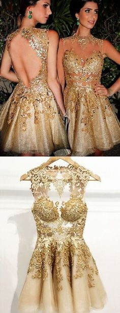 Party Dresses, Gold Party Dresses, Short Mini Homecoming Dresses With Appliques, Cheap Gold Evening Gowns With Beading Backless Homecoming Dresses, Mini Prom Dresses, Elegant Bridesmaid Dresses, Hoco Dresses, Pretty Dresses, Beautiful Dresses, Prom Gowns, Sweet 16 Dresses Gold, Dresses 2016