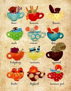 Children's Wall Art - Teacups in the Little Forest Print - Owl Fox Hedgehog Mouse Nursery Decor Kids Room Foto Poster, Childrens Wall Art, Forest Art, Cute Illustration, Illustration Animals, Large Prints, Illustrations Posters, Tea Party, Decoupage
