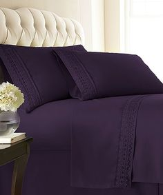 Look what I found on #zulily! Purple Vilano Springs® Lace-Trim Deep-Pocket Sheet Set #zulilyfinds