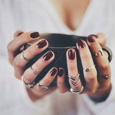 Fall Manicure Burgundy Nail Polish Silver Rings