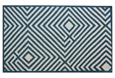 One Kings Lane - Style Underfoot - Somerset Flat-Weave Rug, Blue/White