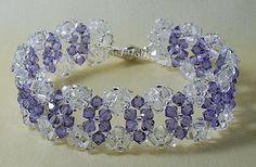 purple swarovski crystals beads | Crystal and Tanzanite Swarovski Crystal Bracelet